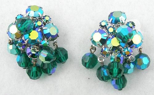 Earrings - Green Aurora & Green Crystal Earrings