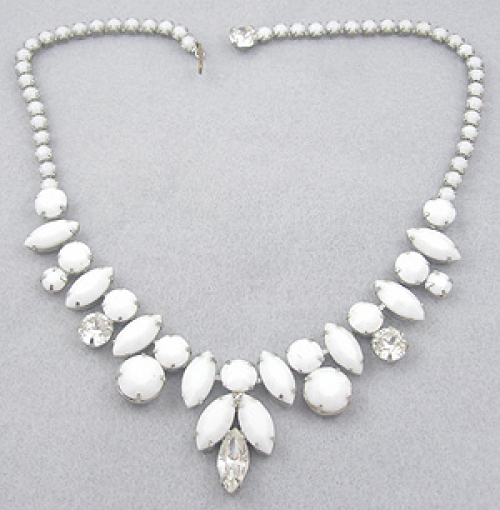 Bridal, Wedding, Special Occasion - Vintage White Rhinestone Necklace
