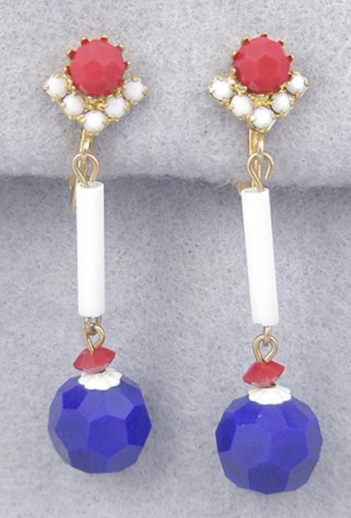 Earrings - Patriotic Bead Dangle Earrings