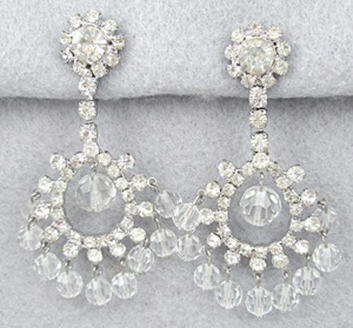 Earrings - Rhinestone and Crystal Bead Teardrop Earrings