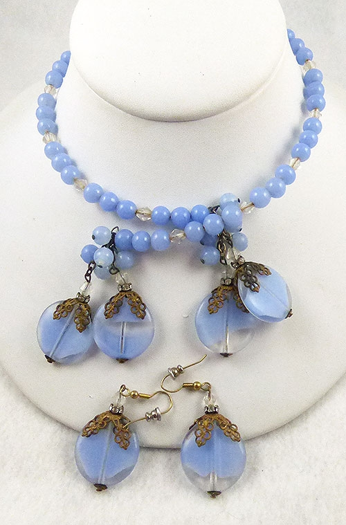 Haskell, Miriam - Miriam Haskell Blue Bead Memory Coil Necklace Set