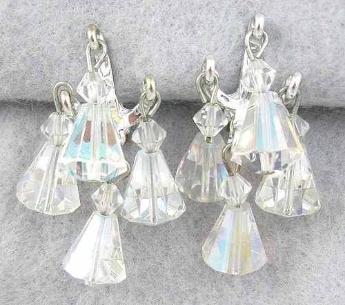 Crystal Bead Jewelry - Dangling Crystal Aurora Beads Chandelier Earrings