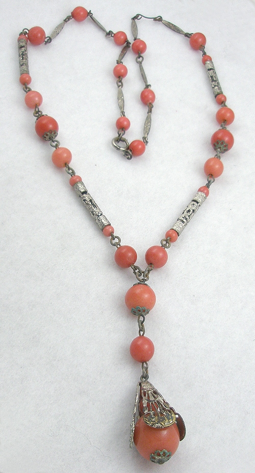 Necklaces - Salmon Glass & Silver Filigree Bead Necklace