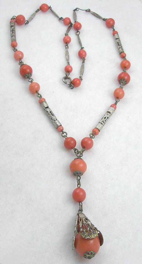 Art Deco - Salmon Glass & Silver Filigree Bead Necklace