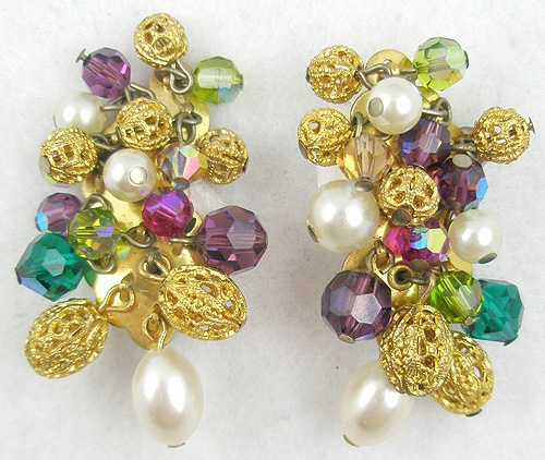Earrings - Crystal, Filigree Bread & Pearl Dangles Earrings