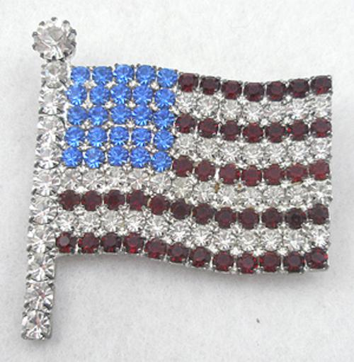 Newly Added Rhinestone American Flag Brooch