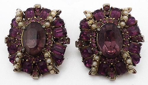Newly Added Hollycraft Amethyst Rhinestone Earrings