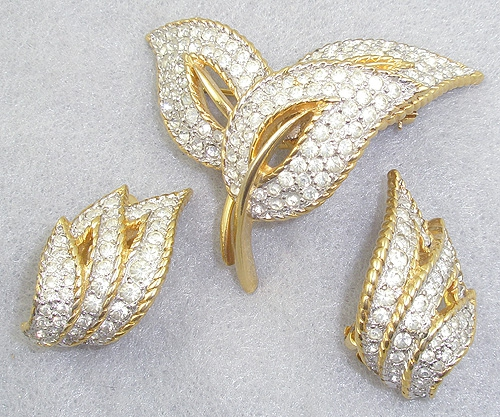 Mazer/Jomaz - Jomaz Rhinestone Leaves Brooch Set