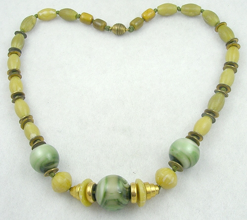 Necklaces - French Art Deco Galalith Bead Necklace