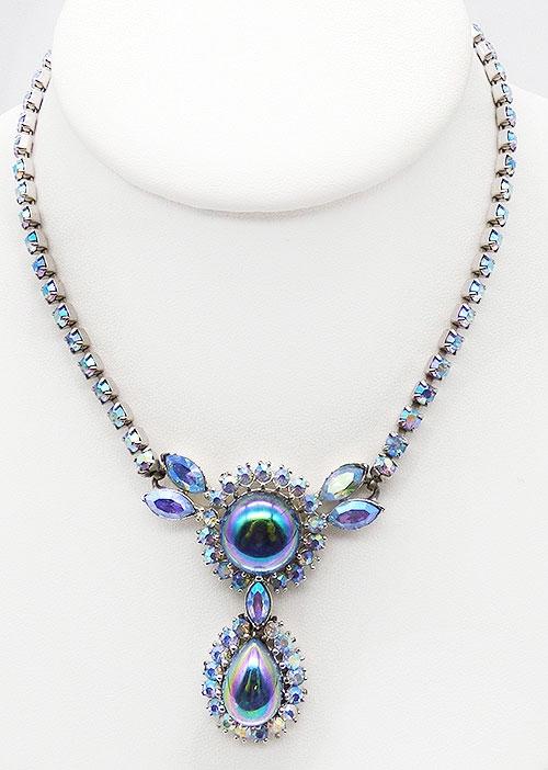 Newly Added Blue Aurora Borealis Cabochon Necklace