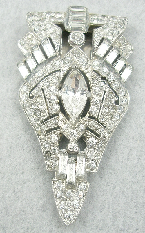 Dress & Fur Clips - Art Deco Rhinestone Dress Clip