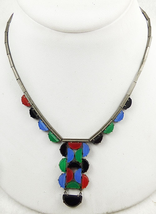 Newly Added Art Deco Geometric Glass Necklace