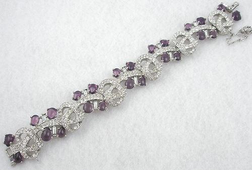 Art Deco - Art Deco Rhinestone Amethyst Cabochon Bracelet