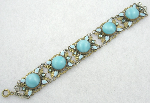 Bracelets - Aqua Glass Moonstone Brass Filigree Bracelet
