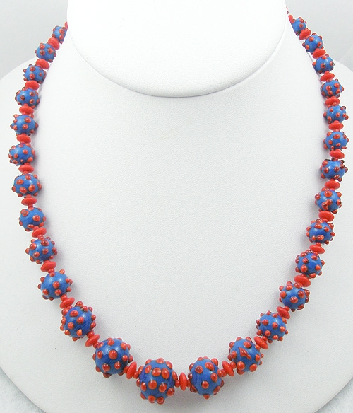 Necklaces - Blue & Red Polka Dot Art Glass Bead Necklace