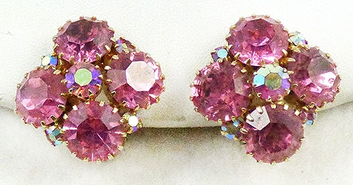 Spring Pastel Jewelry - Pink Rhinestone Earrings