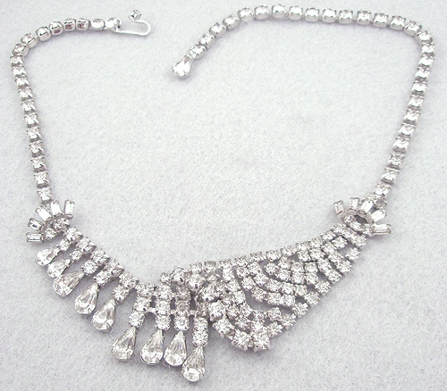 Necklaces - Asymmetrical Rhinestone Necklace