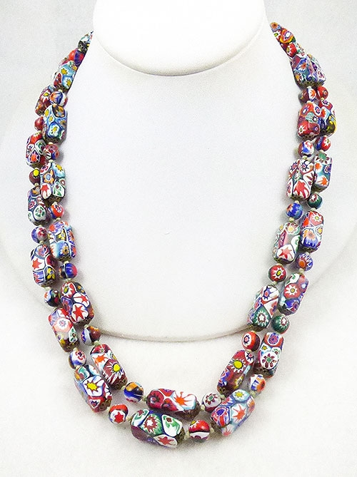 Italy - Ventian Millefiori Glass Bead Necklace