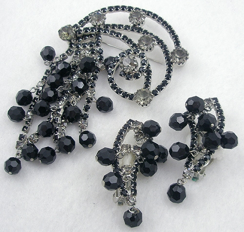 Sets & Parures - Black Rhinestone & Beads Brooch Set