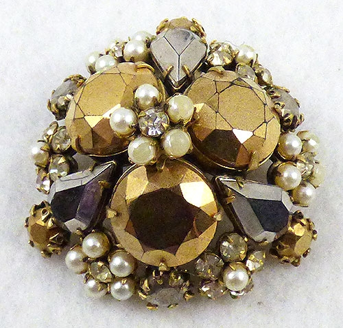 Brooches - Schriener Domed Gold Rhinestone and Pearl Brooch
