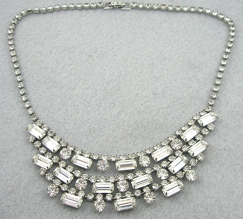 Bridal, Wedding, Special Occasion - Triple Swag Rhinestone Baguette Necklace