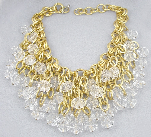 Necklaces - Lucite Snowflake Waterfall Bib Necklace