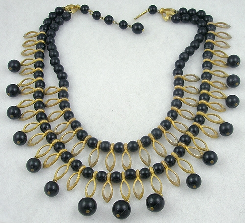 Necklaces - Kramer Black Bead Double Strand Necklace