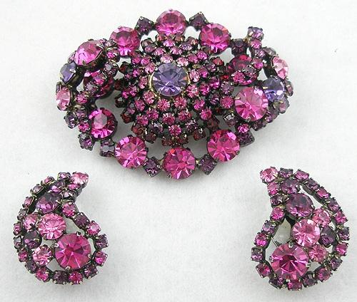 Sets & Parures - Fuchsia Pink & Amethyst Rhinestone Brooch Set