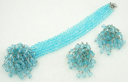 Sets & Parures - Vogue Aqua Crystal Bracelet & Earrings Set