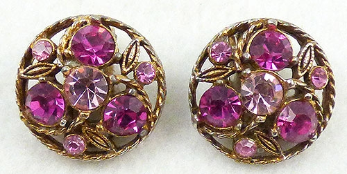 Earrings - Fuchsia and Pink Rhinestone Earrings