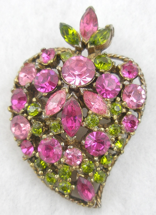 Regency - Regency Pink and Peridot Rhinestone Brooch