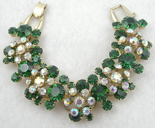 DeLizza & Elster/Juliana - DeLizza and Elster Green Rhinestone Bracelet