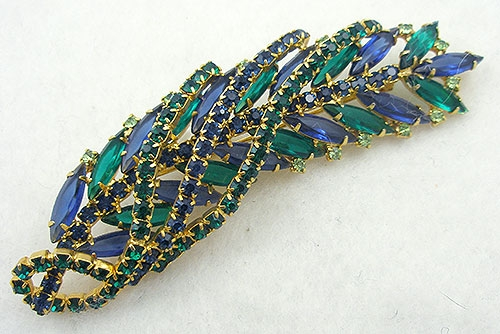 Brooches - DeLizza & Elster Blue and Green Rhinestone Leaf Brooch
