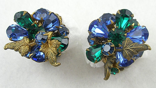 DeMario - DeMario Blue & Green Rhinestone Earrings