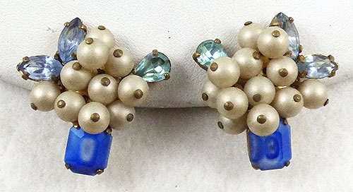 Earrings - Elfe Faux Pearl Blue Glass Earrings