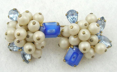 Earrings - Elfe Italy Faux Pearl & Blue Rhinestone Brooch
