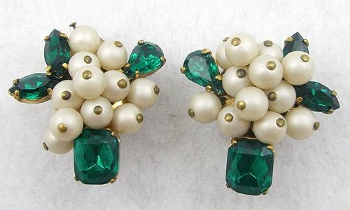 Misc. Signed A-F - Elfe Faux Pearl Green Rhinestone Earrings