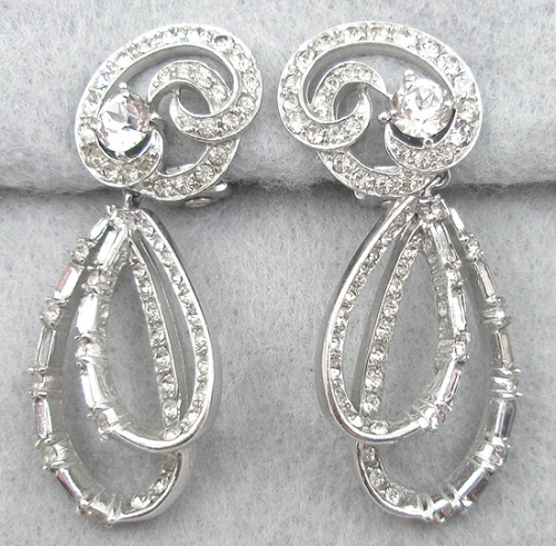 Earrings - Boucher Rhinestone Double Loop Earrings