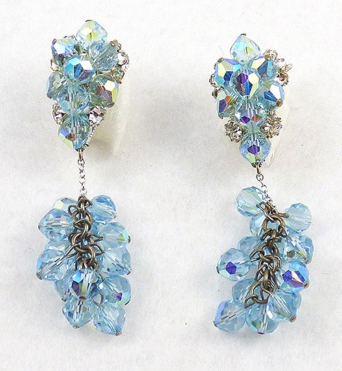 Misc. Signed M-R - Judith McCann Blue Crystal Wingback Earrings