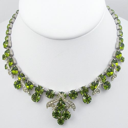 Necklaces - Peridot Rhinestone Necklace
