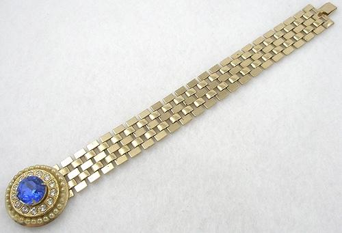 Bracelets - Karu Blue Rhinestone Gold Chain Bracelet