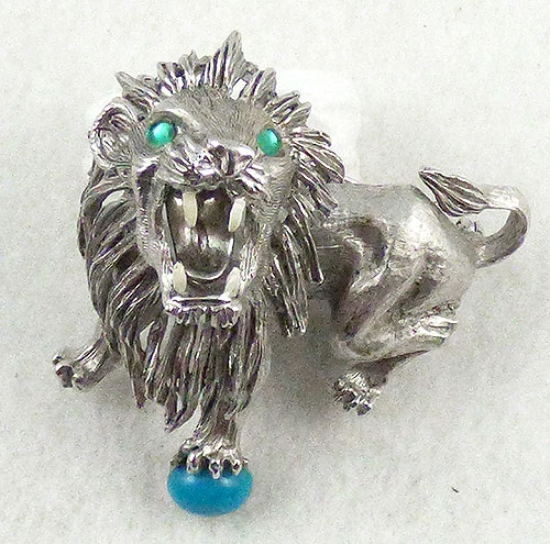 Figural Jewelry - Animals - Hattie Carnegie Roaring Lion Brooch