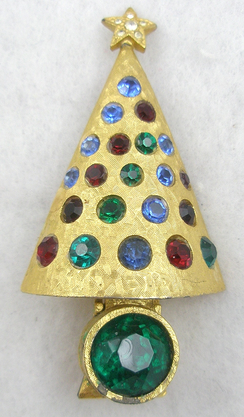 "Christmas and Holidays - Hattie Carnegie ""Light-Up"" Christmas Tree Brooch"