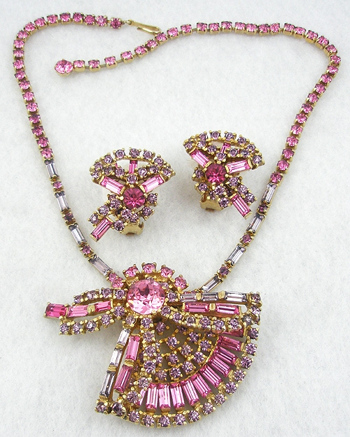 Bows & Ribbons - Pink & Lavender Rhinestone Necklace Set