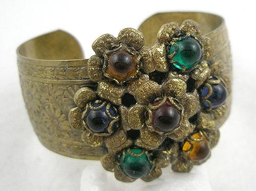 Bracelets - 1930's Etched Brass Floral Bracelet