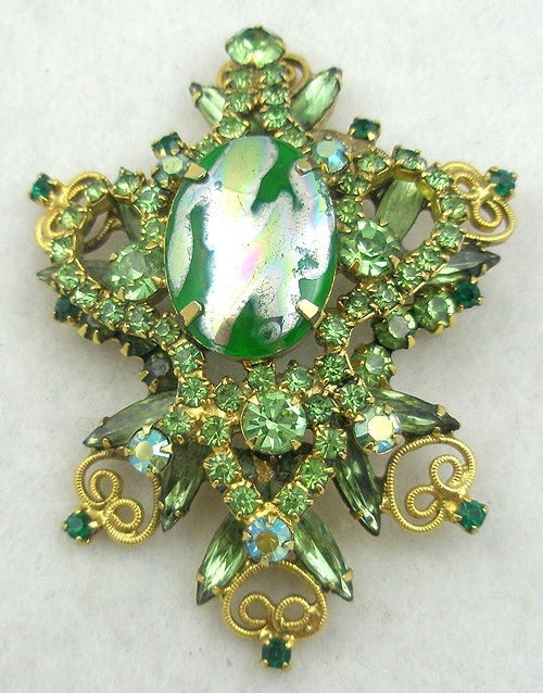 DeLizza & Elster/Juliana - DeLizza & Elster Green Foil Brooch