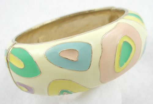 Bracelets - Hobé Pastel Enamel Hinged Bangle