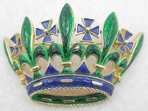 Crowns & Heraldic Jewelry - Trifari Enamel Crown Brooch