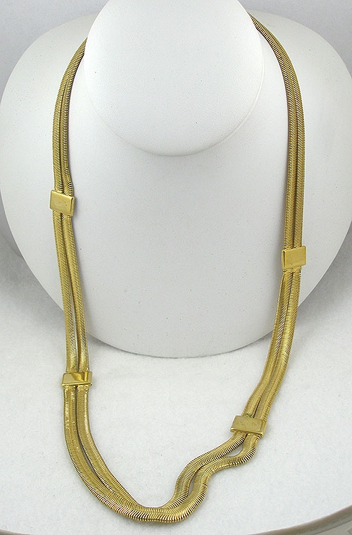 Necklaces - Vintage Long Gold Flat Snake Chain Necklace