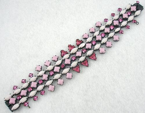 Schreiner - Schreiner Pink & White Glass Bracelet